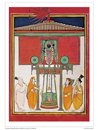 Shrinathji and Madanmohanji on Hindola Digital Print on Paper (16.5in x 12.5in)