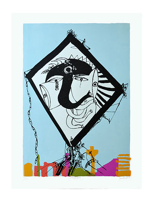 Manu Parekhs Limited Edition Uttarayan Serigraph On Paper (30in x 22in)