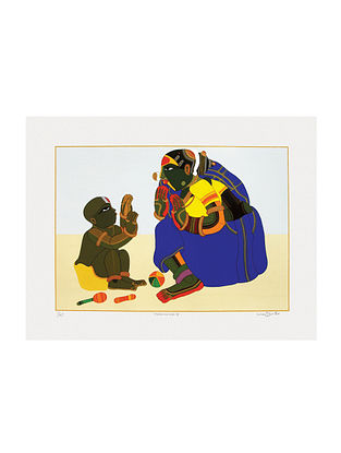 Thota Vaikuntams Limited Edition Mother & Child Serigraph On Paper (30in x 40in)