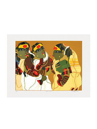 Thota Vaikuntams Limited Edition Women in Gossip Serigraph On Paper (30in x 40in)