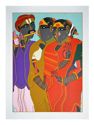 Thota Vaikuntams Limited Edition Flute Player Serigraph On Paper (40in x 30in)