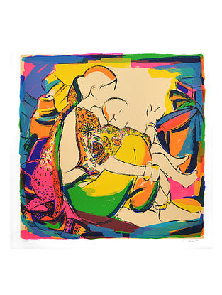 Vrindavan Solankis Mother and Child Serigraph on Paper (40in x 40in)
