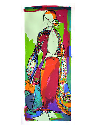 Vrindavan Solankis Tribal Woman Serigraph on Paper (45in x 20in)