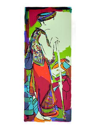 Vrindavan Solankis Tribal Man Serigraph on Paper (45in x 20in)