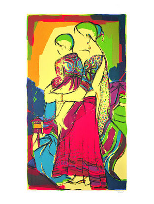 Vrindavan Solankis Mother & Child Serigraph on Paper (40in x 24in)