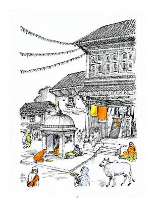 Natu Mistry Mandir Chowk Ink and Watercolor on Paper (30in x 22in)