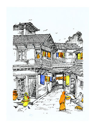 Natu Mistry Virasat Ink and Watercolor on Paper (30in x 22in)