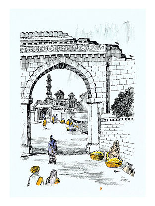 Natu Mistry Zulta Minar Ink and Watercolor on Paper (30in x 22in)