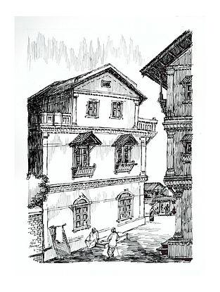 Natu Mistry Amdavad ni Pol Ink on Paper (30in x 22in)