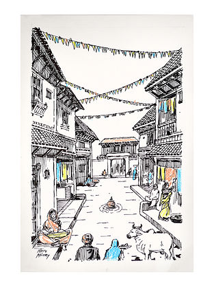 Natu Mistry Gujarat nu Gam Ink and Pastel Color on Paper (22in x 15in)
