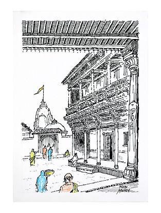Natu Mistry Haveli aur Mandir Ink and Pastel Color on Paper (20in x 14in)