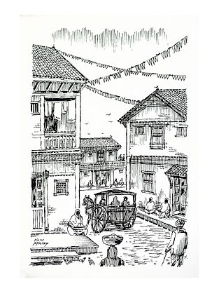Natu Mistry Bel Gadi Ink on Paper (22in x 15in)