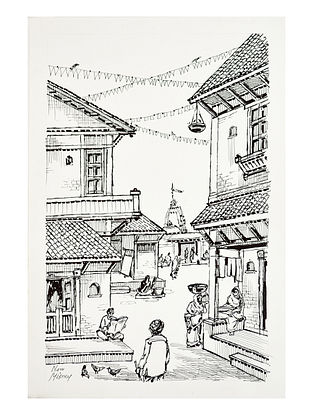 Natu Mistry Haveli aur Mandir Ink on Paper (22in x 15in)