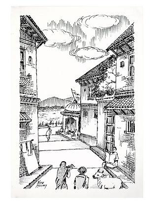 Natu Mistry Mandir nu Chowk Ink on Paper (22in x 15in)