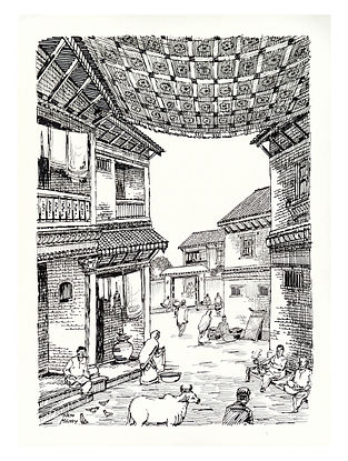 Natu Mistry Ghar Ink on Paper (30in x 22in)