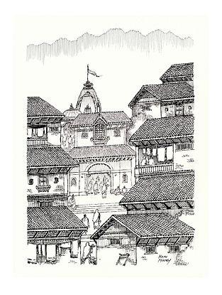 Natu Mistry Ghaat Ink on Paper (30in x 22in)
