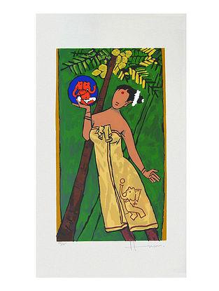 Folklore Kerala Multicolor Serigraph on Paper (28in x 16in)