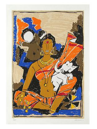 Laxmi Multicolor Serigraph on Paper (30in x 21in)