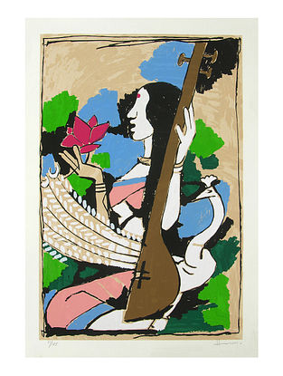Saraswati Multicolor Serigraph on Paper (30in x 21in)