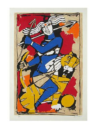 Durga Multicolor Serigraph on Paper (30in x 21in)
