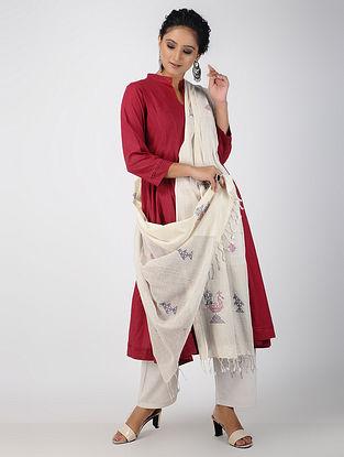 Ivory Kasuti Embroidered Cotton Dupatta