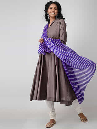 Purple Leheriya Chiffon Dupatta