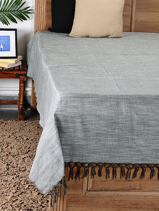 Grey Handloom Cotton Double Bedcover (101in x 94in)