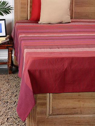 Red Handloom Cotton Double Bedcover (101in x 100in)