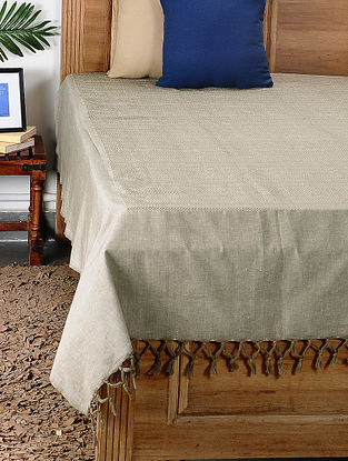 Beige Handloom Cotton Double Bedcover (101in x 96in)