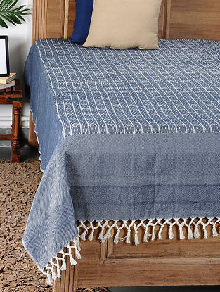 Blue Handloom Cotton Double Bedcover (105in x 93in)