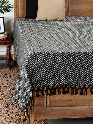 Charcoal Grey Handloom Cotton Double Bedcover (104in x 94in)