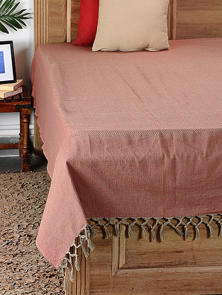 Red Handloom Cotton Double Bedcover (105in x 92in)
