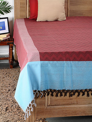 Red and Blue Handloom Cotton Double Bedcover (100in x 92in)