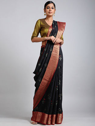 Black Handwoven Block Printed Muga Silk Saree