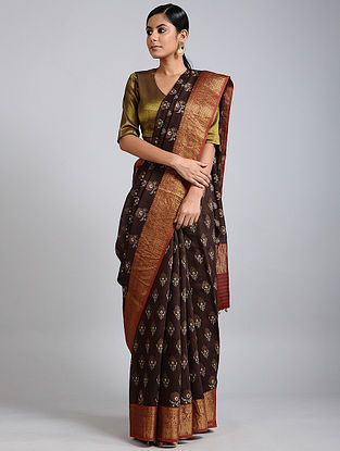 Brown Handwoven Block Printed Muga Silk Saree