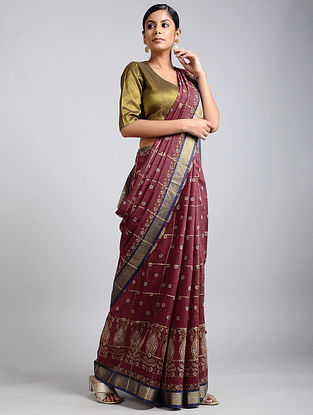 Maroon-Blue Handwoven Block Printed Muga Silk Saree
