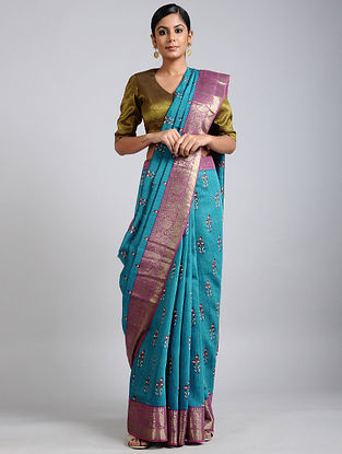 Blue-Pink Handwoven Block Printed Muga Silk Saree