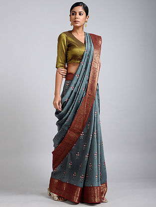 Grey-Rust Handwoven Block Printed Muga Silk Saree