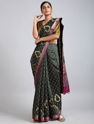 Green-Pink Handwoven Block Printed Muga Silk Saree