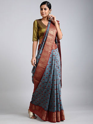 Blue-Rust Handwoven Block Printed Muga Silk Saree