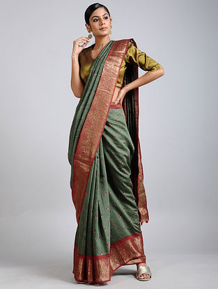 Green-Rust Handwoven Block Printed Muga Silk Saree