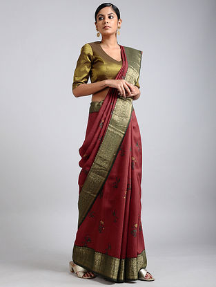 Maroon Handwoven Block Printed Muga Silk Saree