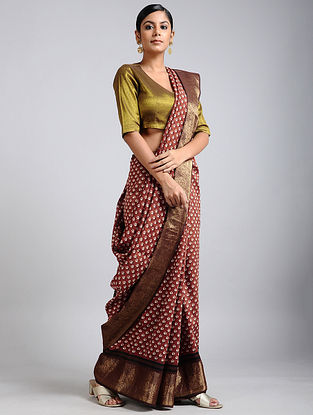 Brown-Ivory Handwoven Block Printed Muga Silk Saree