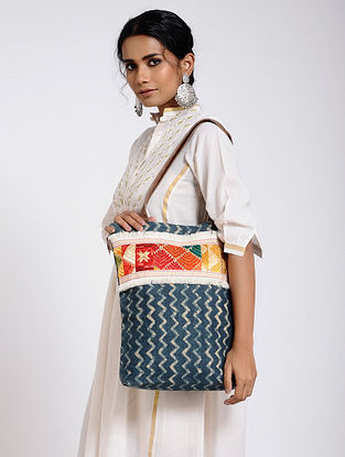 Blue-Multicolored Cotton Canvas Tote Bag with Phulkari Work