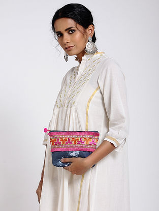 Blue-Multicolored Cotton Canvas Pouch with Phulkari Work
