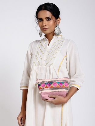 Pink-Multicolored Cotton Canvas Pouch with Phulkari Work