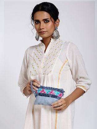 Powder Blue-Multicolored Cotton Canvas Pouch with Phulkari Work