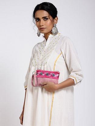 Pink-Grey Cotton Canvas Pouch with Phulkari Work