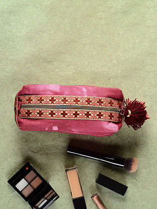 Pink-Red Cotton Canvas Travel Kit