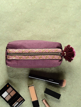 Purple-Pink Cotton Canvas Travel Kit